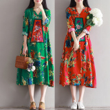 Review Loose National Style Cotton Linen Autumn New Style Long Sleeved Dress Gown Red China