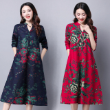 Promo Loose National Style Cotton Linen Mid Length Long Sleeved Dress Printed Skirt Blue