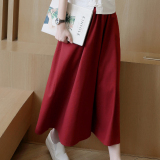 Loose New Casual Pants Wide Leg Pants Wine Red Color China