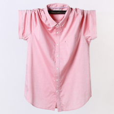 Latest Loose Fit Oxford Men Extra Shirts Short Sleeved Shirts Pink Pink