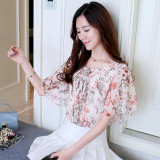 Sale Loose Fit Printed Chiffon Female Horizontal Neck Flounced Top Floral Print Chiffon Shirt Oem On China