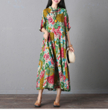 Low Price Loose Vintage Cotton And Linen Female New Long Dress Ethnic Dress