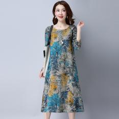 Discount Loose Vintage Cotton And Linen Women L Long Sleeve Dress Midi Skirt Blue Blue Oem