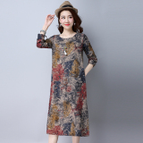 Compare Price Loose Vintage Cotton And Linen Women L Long Sleeve Dress Midi Skirt Red Red Oem On China