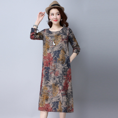 The Cheapest Loose Vintage Cotton And Linen Women L Long Sleeve Dress Midi Skirt Red Red Online
