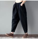 Sale Women S Retro Loose Fit Harem Pants Black Burgundy Gray Black Black Oem Online