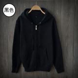 Where Can You Buy Loose Fit Plain Teenage Students Leisure Coat Couple Hoodies Hooded Zip Hoodies Black Black