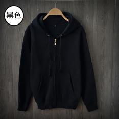 Sale Loose Fit Plain Teenage Students Leisure Coat Couple Hoodies Hooded Zip Hoodies Black Black Oem Wholesaler