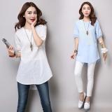 Price Comparisons Of Loose Fit Panel Linen Plus Sized With Holes T Shirt Cotton Linen Top Blue