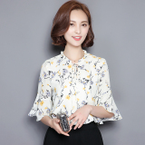 Buying Loose Women S Short Sleeved Flounced Bell Sleeve Printed Top Floral Print Chiffon Shirt Beige