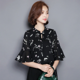Compare Loose Women S Short Sleeved Flounced Bell Sleeve Printed Top Floral Print Chiffon Shirt Black Prices