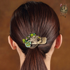 Loulankezhan National Style Peacock Side Clip Ponytail Hairclip Free Shipping