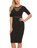 Buy Low Price Astar Women Fashion O Neck Short Sleeve Mesh Patchwork Bodycon Slim Pencil Dress Black Intl China