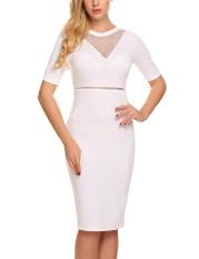 Low Price Astar Women Fashion O Neck Short Sleeve Mesh Patchwork Bodycon Slim Pencil Dress White Intl China