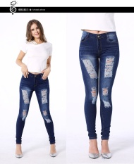 Buying Low Waist Distressed Jeans New 2017 Ladies Cotton Denim Pants Stretch Womens Ripped Skinny Denim Jeans For Female 0212 Blue Intl