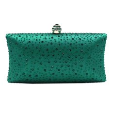 LT365 Luxury Diamond Evening Bag Clutch Dinner Party Handbag Rhinestone Bridal Wedding Prom Bag - Green