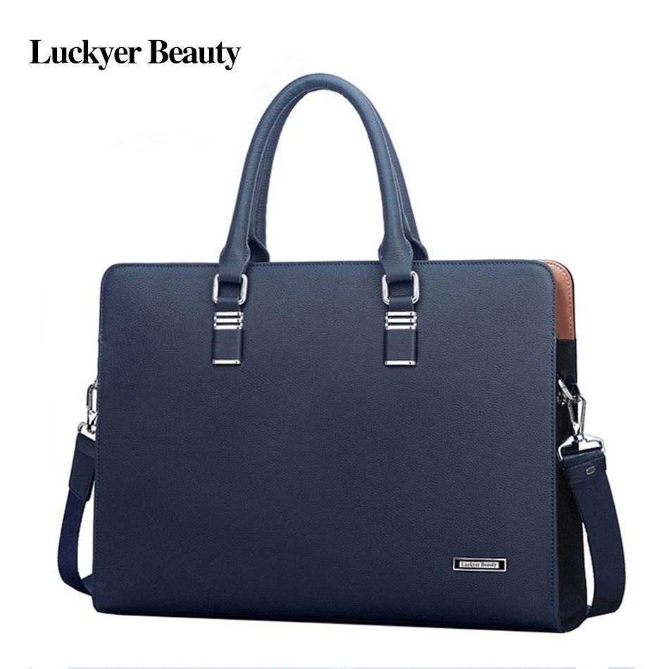LUCKYER BEAUTY High Quality Mens Leather Briefcases Men Large Capacity Document Briefcase Business Male Office Briefcase Totes - intl