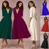 Lunar Valley Big Discounts And Brand New Women Elegent Long Dress Solid Color Party Dresse Vintage Evening Dresses V Neck Vintage Casual Dress Pink Int L Intl Coupon