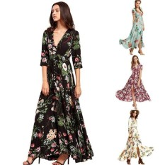 Who Sells The Cheapest Lunar Valley Hot Products Big Swing Long Dress Bohemian V Neck Print Dress Formal Big Swing Dresses Women Party Dress Black Int Xxl Intl Online