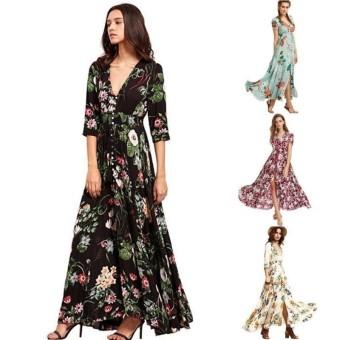 Low Cost Lunar Valley Hot Products Big Swing Long Dress Bohemian V Neck Print Dress Formal Big Swing Dresses Women Party Dress Magenta Int L Intl