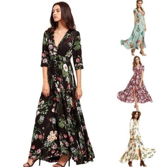 Retail Lunar Valley Hot Products Big Swing Long Dress Bohemian V Neck Print Dress Formal Big Swing Dresses Women Party Dress Magenta Int M Intl