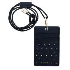 How Do I Get Lunarbay Cardholder Lanyard Black Polka Dots Gold Cardholder