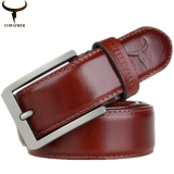Shop For Cowather Mens 100 Top Cow Genuine Leather Luxury Strap Male Belts For Men Buckle Fancy Vintage Jeans 3 2Cm Width Orange Intl