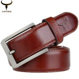 Compare Prices For Luxury Fashion Mens 100 Top Cow Genuine Leather Luxury Strap Male Belts For Men Buckle Fancy Vintage Jeans 3 2Cm Width Orange Intl