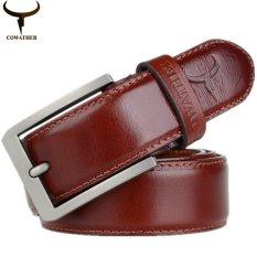 Cheaper Luxury Fashion Mens 100 Top Cow Genuine Leather Luxury Strap Male Belts For Men Buckle Fancy Vintage Jeans 3 2Cm Width Orange Intl