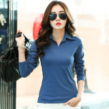 Cheap M Tony Nepalese Female New Style Slim Fit Collar Korean Style Cotton Polo Shirt Blue Online