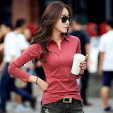 Get Cheap M Tony Nepalese Female New Style Slim Fit Collar Korean Style Cotton Polo Shirt Brick Red