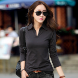 Price M Tony Nepalese Female New Style Slim Fit Collar Korean Style Cotton Polo Shirt Dark Gray Online China