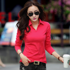 Best Deal M Tony Nepalese Female New Style Slim Fit Collar Korean Style Cotton Polo Shirt Watermelon Red