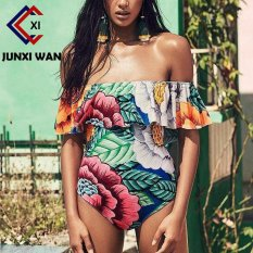 Discount Maillot De Bain Femme S*xy Floral Off Shoulder Swimwear Women Ruffle Bathing Suit Thong Swimming Suit One Piece Swimsuit Wyy0116 Intl Oem