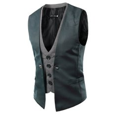 Buy Men Plaid Fake Two Piece Vest Gray Gray China