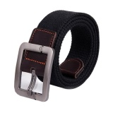 Best Reviews Of Man Women Automatic Square Buckle Waist Strap Sports Knit Canvas Belts Intl