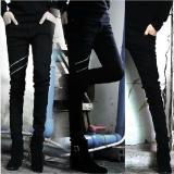 Best Deal Man S Casual Straight Slim Jeans Zipper Decoration Denim Trousers Black Intl