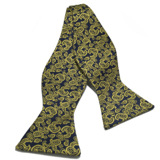 Where To Shop For Manual Series Yellow Dark Blue Batik Patterned Self Tied Man Made Silk Bow Tie
