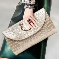 New Year High-Grade Luxurious Women Clutch Box Evening Party Envelope package Hand Bags Wallet Card Holder Wallet Purse(Gold) - intl