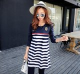 Get The Best Price For Maternity Clothing Casual Striped Maternity Dress Nursing Long Sleeve Pregnant Women Breastfeeding Dress Navy Blue Intl