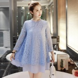 Cheapest Maternity Daily Round Solid Color Lace Loose Above Knee Dress Blue Intl Online