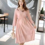 Review Maternity Elegant V Neck Solid Color Cotton Loose Short Dress Pink Intl Small Wow On China