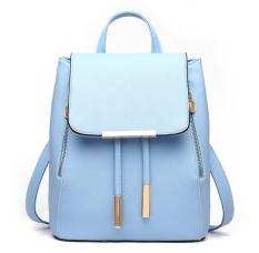 Compare Prices For Max Collection Women Leather Shoulder Bag Ladies Backpacks Travel Bag Blue Intl
