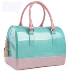 Recent Max Collection Women S Fashion Tote Bag Transparent Candy Color Jelly Pillow Shaped Bag Top Handle Bags Green Intl