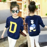 Brand New Mega Girls Long Sleeved Hoodie Spring And Autumn 6 Childrens Looset Shirt Bottoming Shirt 7 Big Boy Womens 9 Students 15 Years Oldtide Clothing Dark Blue Color Intl