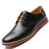 Retail Price Men Business Dress Leather Shoes Flat European Casual Oxfords Lace Up Plus Size
