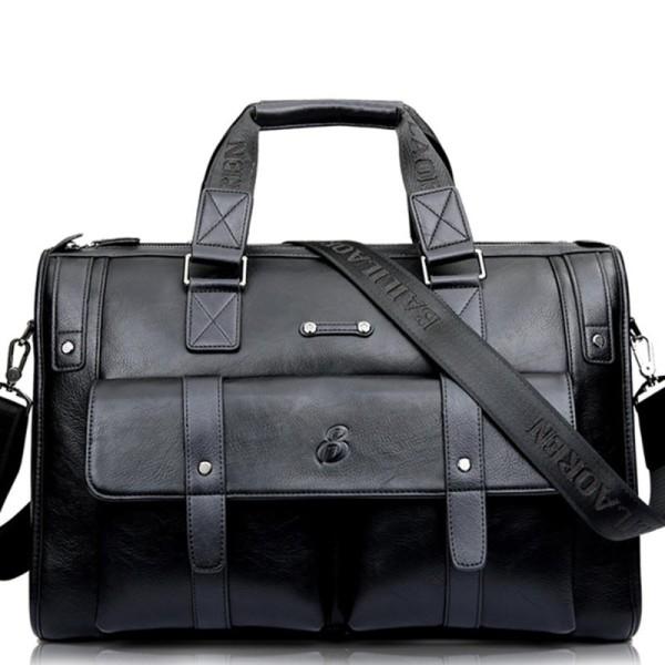 Men Business Vintage Laptop Bag Briefcase Big Capacity Horizontal Handbag Travel Bag - intl