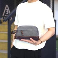 Promo Men Canvas Clutch Bag Business Small Handbag Phone Purse Casual Canvas Wrist Bag Grey Intl