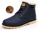 Men Caramel Snow Boots Winter Working Martin Boots Blue Lower Price