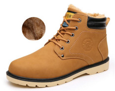Discount Men Caramel Snow Boots Winter Working Martin Boots Yellow Oem